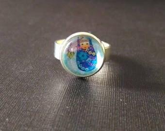 Cute matryoshka Russian doll - cabochon ring