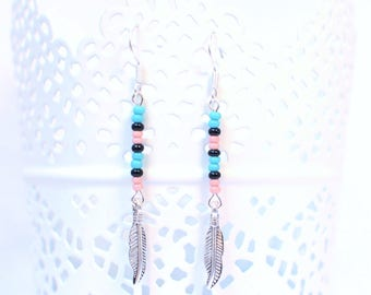 VOZ earrings silver black pink blue glass beads and feather charm