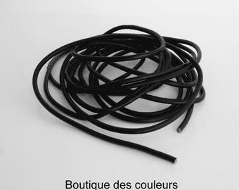 Length of 3 meters of cprdon full black 3mm round leather