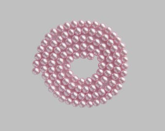 140 beads wire glass Pearl Pink clear 6mm