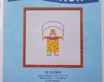 KIT complete cross stitch counted - a painting CLOWN stitch