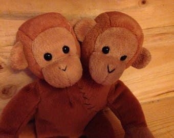 Stuffed Two Headed Monkey Plush, one of a kind, odd creation