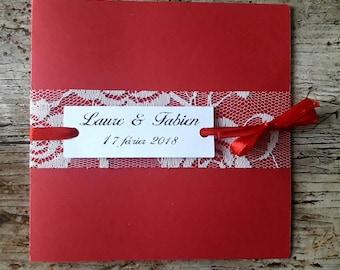 Red lace wedding invitation