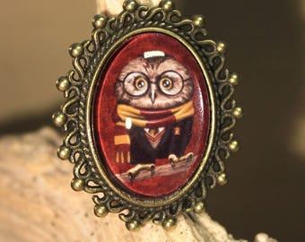 """Adjustable ring """"OWL Harry Potter Gryffindor"""" Hogwarts, retro, fantasy."""