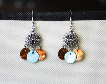 Earrings with pendant and Pearl sequins
