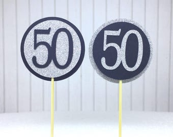 "50th Birthday Cupcake Toppers - Silver Glitter & Black ""50"" - Set of 12 - Elegant Cake Cupcake Age Topper Picks Party Decorations"