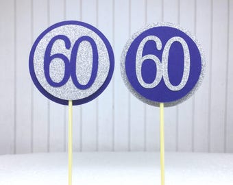 """60th Birthday Cupcake Toppers - Silver Glitter & Navy Blue """"60"""" - Set of 12 - Elegant Cake Cupcake Age Topper Picks Party Decorations"""