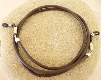 Brown leather glasses cord