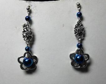 Flower Earrings dark blue hematite beads