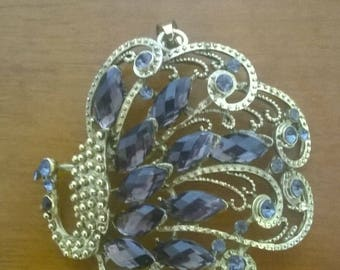 LARGE PEACOCK WITH RHINESTONE PENDANT