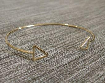 Bangle Bracelet gold, arrow, triangle, cuff, gold, gold