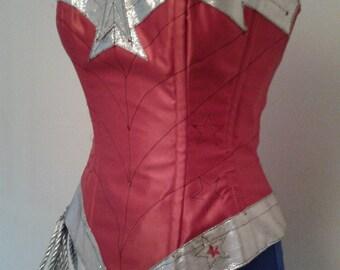 wonder woman corset costume with hotpants, briefs,skirt