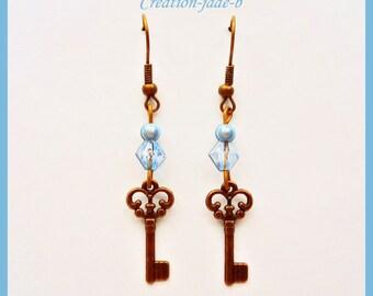Pending key blue - fancy earrings