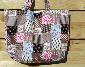 Square patchwork patterned Brown/taupe/beige fabric tote bag
