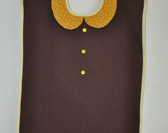 Adult bib for women - Brown, Tan collar and flowers