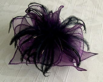 Plum organza flower brooch, feathers and beads