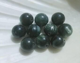 AA round round 8mm seraphinite beads (Clinochlore)