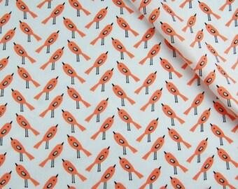 Cotton printed fabric 100% coupon 100 x 160 cm, with a bird motif