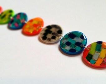 Colorful brick patterns, polymer clay bracelet