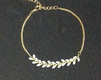Bracelet chain white COB plated mesh chain 16 k gold