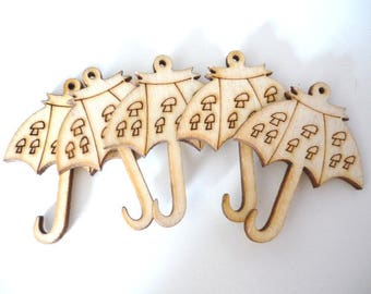 Set of 5 charms umbrellas - set of wooden charms
