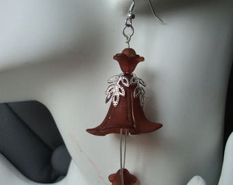 Bell, Brown earrings, Brown and silver lucite flower beads, wedding