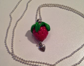 "Fimo necklace ""raspberry fresh frambourgeoise"""