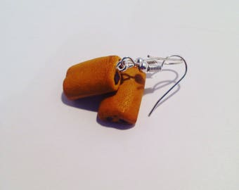"Earrings polymer clay ""chocolate bread"""