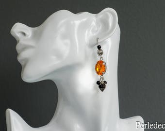 "Earrings Orange cabochons and beads black ""Milady"""