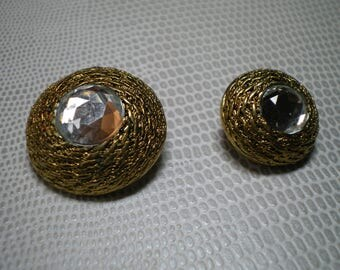 antique with Rhinestone in the Center gold button
