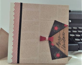 Handmade Card - Holiday with Folds and Bow