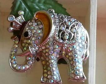 Pendants animals enamel alloy with Rhinestones, elephant, Platinum, Crystal, 55 x 51 x 20 mm, hole: 3 mm
