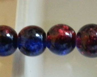 10 glass beads Crackle strands, round, dyed, deepskyblue / red, 8 mm in diameter, hole: 1 mm.