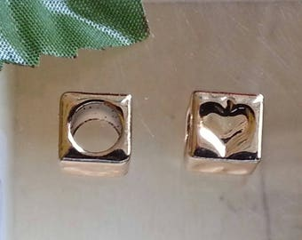 1 spacer separator, cadmium and lead and nickel beads large hole, cube with flowers and heart motif,