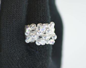 Silver and white swarovski crystal ring