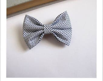 "hair bow ""clip - me"" white blue polka dots"