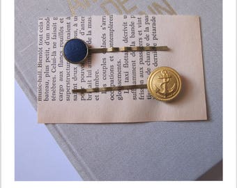 "Barrette, hair clip, vintage ""clip - me"" leather blue and gold anchor"