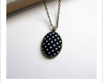 Necklace cabochon adjustable fabric Navy blue white polka dots