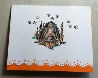 White & Orange, Scallop Edge, Beehive, Bees, Handmade Card