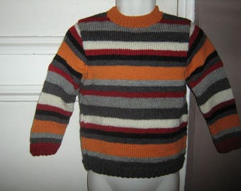 6 colors t 4t striped sweater hand knitted