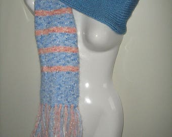 Blue and pink women scarf hand knitted