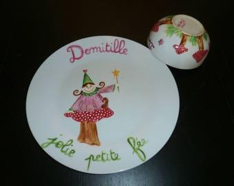 plate and Bowl handpainted fairy on mushroom