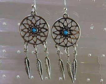 Mandala 3 feathers Silver earrings
