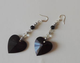 Black and transparent glass beads on black glass heart earrings
