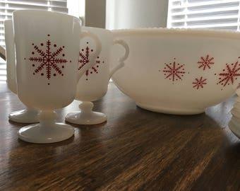 Mckee eggnog punch bowl set