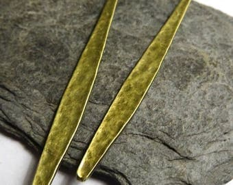 2 charms long hammered leaf brass 58x5mm