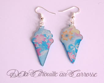 Japanese floral ice cream earrings