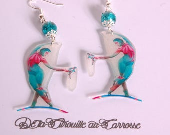 Circus trapeze, green and pink earrings