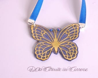 Tie or hanging, Butterfly Necklace Navy Blue and beige