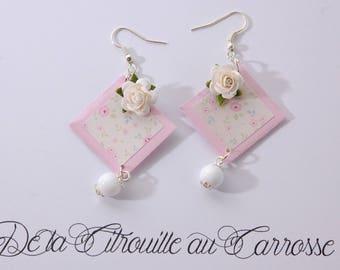 Earrings, liberty, pastel pink, 3D flower, Pearl